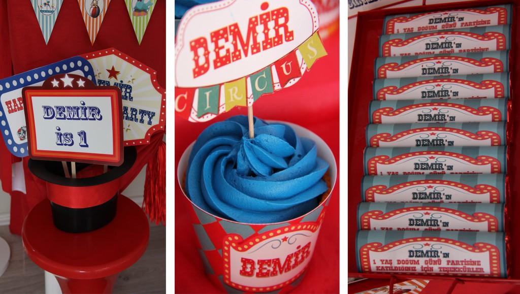Circus temalı 1 yaş doğum günü partileri çikolata-cupcake