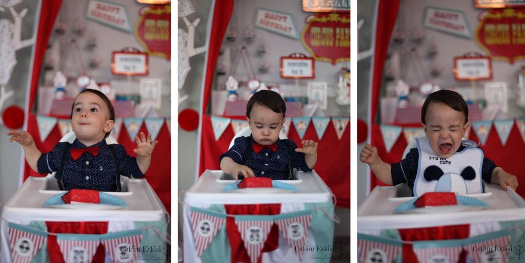 sirk temalı 1 yaş doğum günü pasta yeme